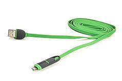 Кабель PowerPlant Quick Charge 2A 2-в-1 flat USB 2.0 AM – Lightning/Micro 2мgreen