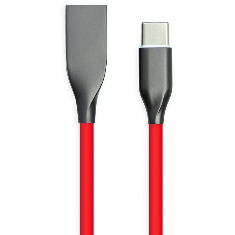 Кабель PowerPlant USB - Type-C, 1м, силикон, красный