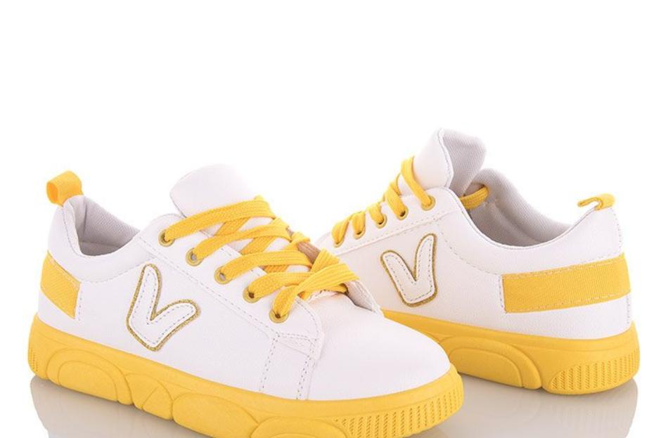 Женские кеды белые с желтыми вставками
