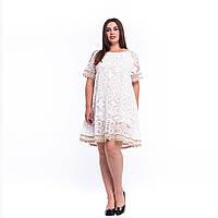 Вінтажна мереживна літня жіноча біла сукня із в'язаною оборкою 7824 L/XL
