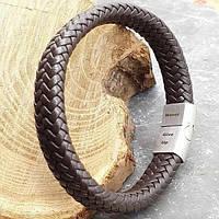 Браслет мужской из плетеной кожи с застежкой из стали под гравировку 21 см 176094, фото 1