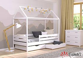 Домик кровать детская Аммі 80х190 белая , 107, из букового Щита Л4