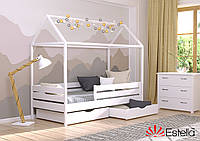Домик кровать детская Аммі 80х190 белая , 107, из букового Щита Л4 90х190