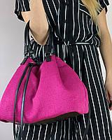 Сумка шоппер женская тканевая стильная розовая летняя, фото 1