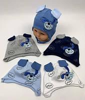Весенняя шапочка для новорожденных 44-46 Люкс Польша голубая