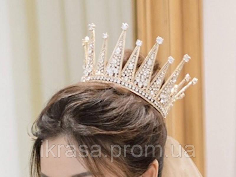 VIP Корона золотого кольору з цирконами (12×8,5 см)