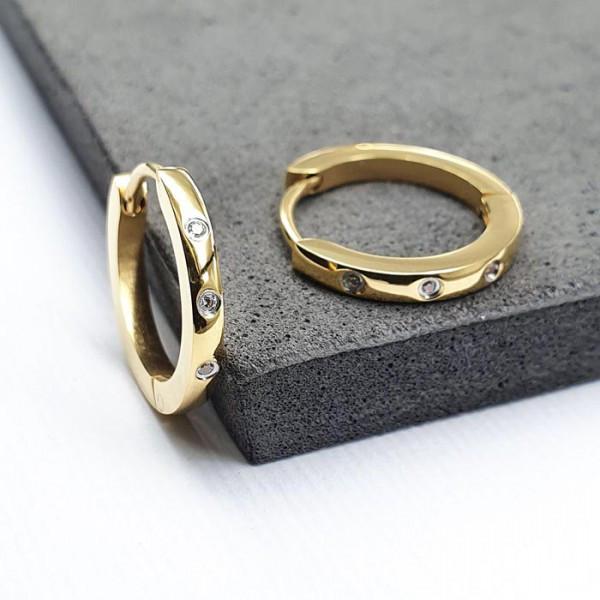 Круглі сережки Конго із сталі з фіанітами і покриттям під золото 176096