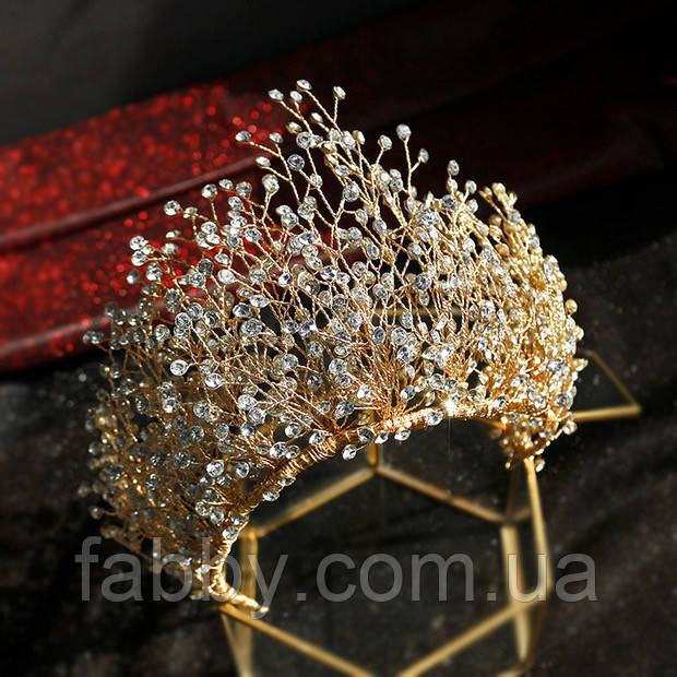Высокая Корона из камней и кристаллов фианитов (10см)