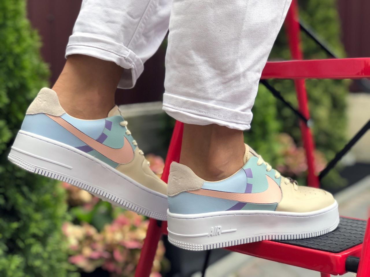 Жіночі кросівки Nike Air Force 1 Shadow бежеві з блакитним