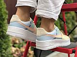 Жіночі кросівки Nike Air Force 1 Shadow бежеві з блакитним, фото 2
