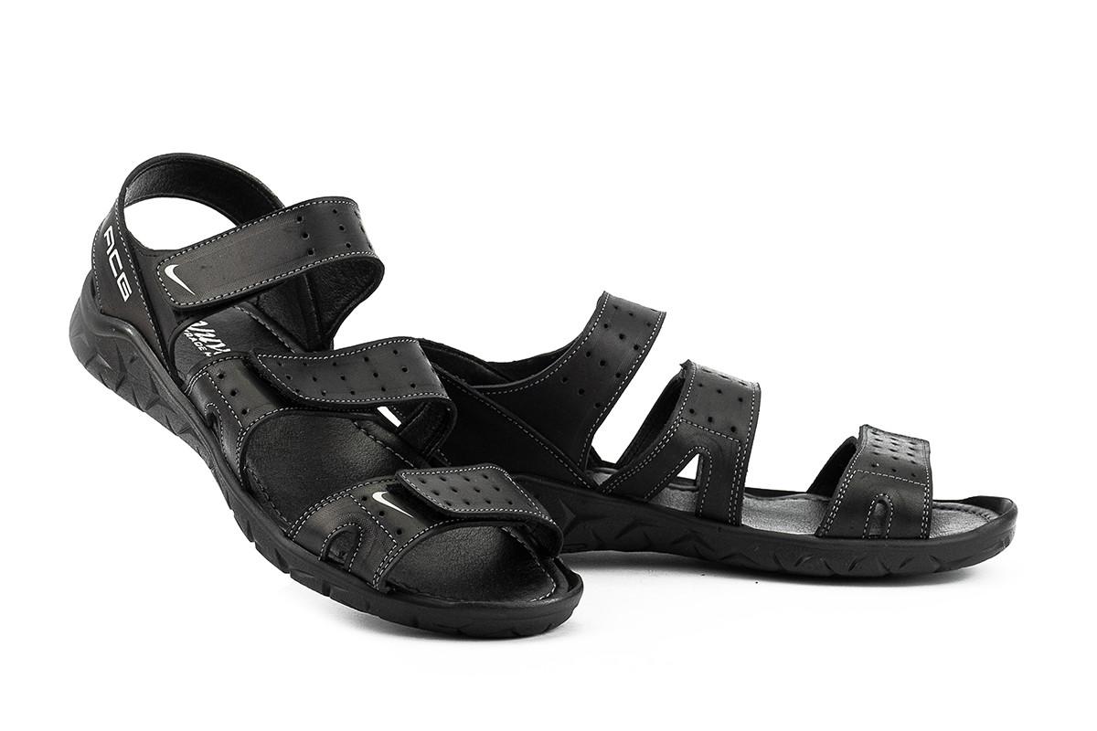 Мужские сандали кожаные летние черные Yuves C 22 ACG