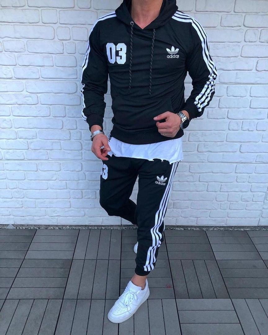 Мужской спортивный костюм Adidas c с лампасами черный