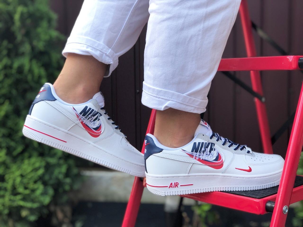 Жіночі кросівки Nike Air Force 1 білі з червоним, темно сині