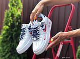 Жіночі кросівки Nike Air Force 1 білі з червоним, темно сині, фото 3