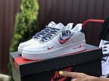 Жіночі кросівки Nike Air Force 1 білі з червоним, темно сині, фото 4