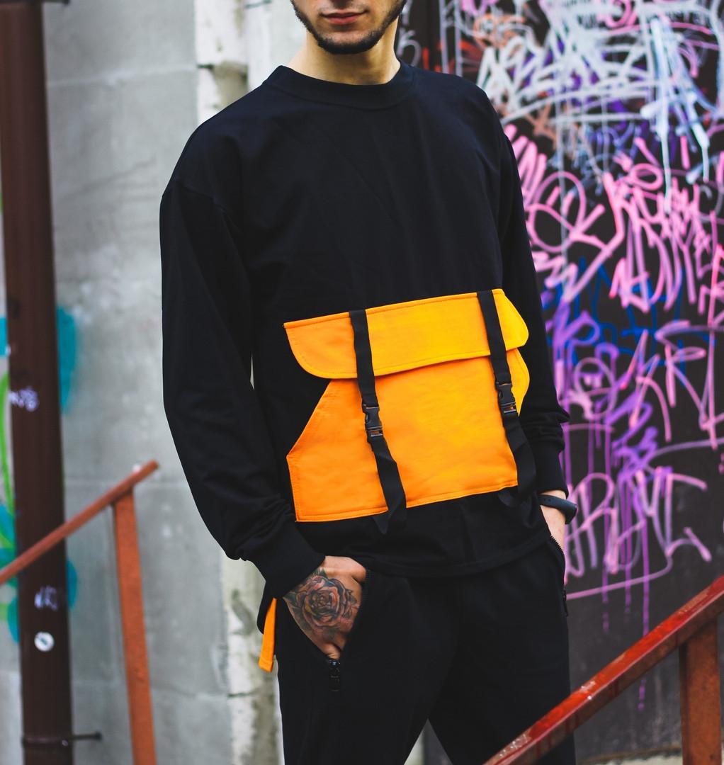 Чоловічий спортивний костюм Світшот Стропи + штани (оранж)