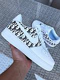 Чоловічі кросівки Nike Air Force 1 білі з чорним, фото 2