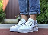 Чоловічі кросівки Nike Air Force 1 білі з чорним, фото 4