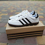 Мужские кроссовки Adidas Samba Белые с чёрным, фото 5