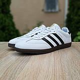Мужские кроссовки Adidas Samba Белые с чёрным, фото 6