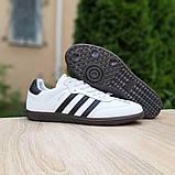 Мужские кроссовки Adidas Samba Белые с чёрным, фото 7