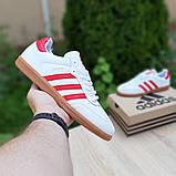 Мужские кроссовки Adidas Samba Белые с красным, фото 2