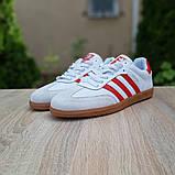 Мужские кроссовки Adidas Samba Белые с красным, фото 3