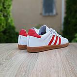 Мужские кроссовки Adidas Samba Белые с красным, фото 4