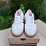 Мужские кроссовки Adidas Samba Белые с красным, фото 5