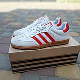 Мужские кроссовки Adidas Samba Белые с красным, фото 6