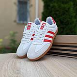 Мужские кроссовки Adidas Samba Белые с красным, фото 7