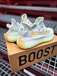 Чоловічі кросівки Adidas Yeezy 350 Grey Wolf/Green Glow, фото 2