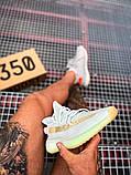 Чоловічі кросівки Adidas Yeezy 350 Grey Wolf/Green Glow, фото 3