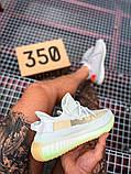 Чоловічі кросівки Adidas Yeezy 350 Grey Wolf/Green Glow, фото 4