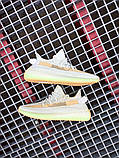 Чоловічі кросівки Adidas Yeezy 350 Grey Wolf/Green Glow, фото 5