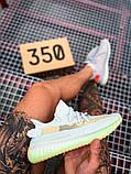 Чоловічі кросівки Adidas Yeezy 350 Grey Wolf/Green Glow, фото 7