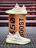 Чоловічі кросівки Adidas Yeezy 350 Grey Wolf/Green Glow, фото 8