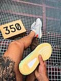 Чоловічі кросівки Adidas Yeezy 350 Grey Wolf/Green Glow, фото 10