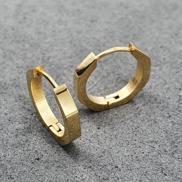 Модные сережки-кольца с PVD покрытием Золотой шестиугольник 176097