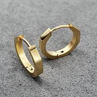 Модные сережки-кольца с PVD покрытием Золотой шестиугольник 176097, фото 1