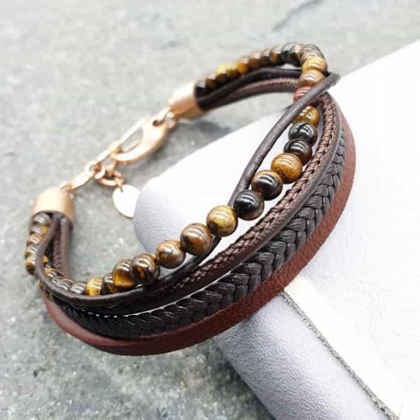 Модний браслет з коричневої шкіри та Тигровим оком 176098