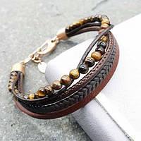 Модный браслет из коричневой кожи и Тигровым глазом 176098, фото 1