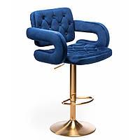 Стілець барний хокер Hrove Form HR8403W синій велюр золота основа, фото 1