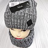 М 94022.Зима. Комплект  мужской, подростковый  шапка  с кнопкой на флисе и снуд, разние цвета, фото 7