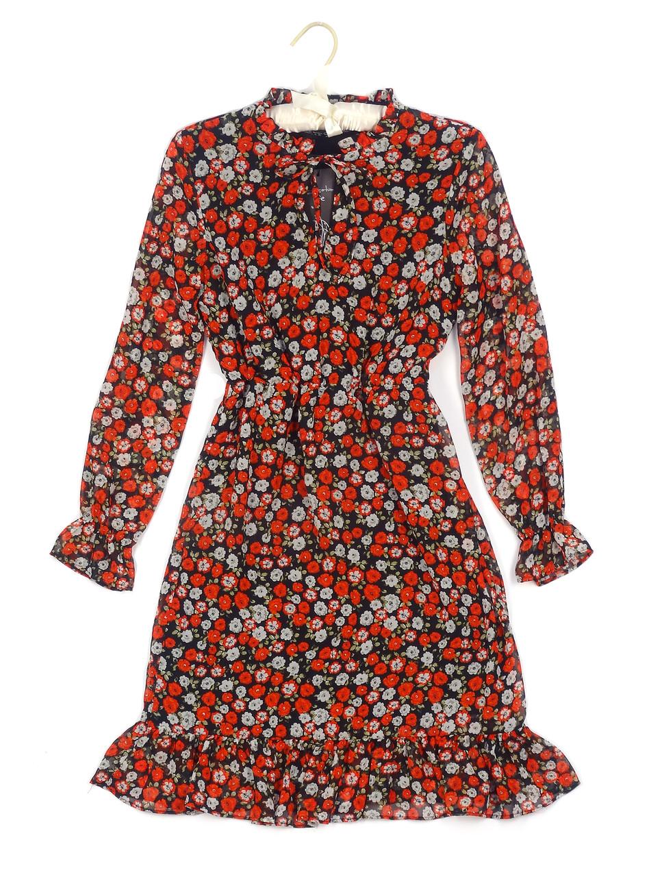 Яркое шифоновое платье в цветы (42-48)