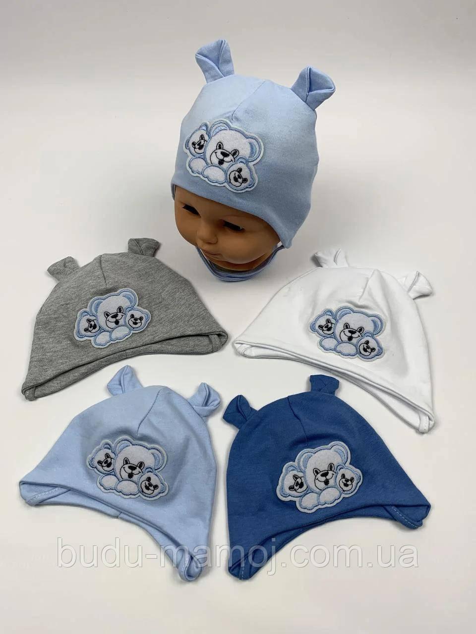 Шапочка для новорожденных 36-38 Люкс Польша голубая