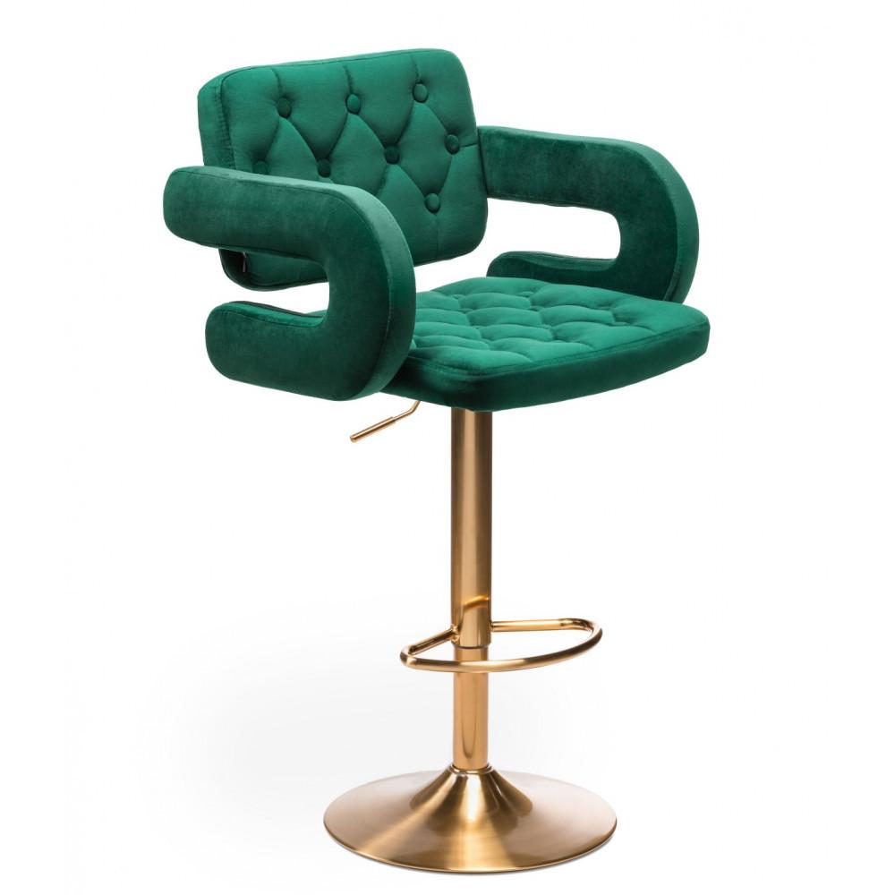Стілець барний хокер Hrove Form HR8403W зелений велюр золота основа