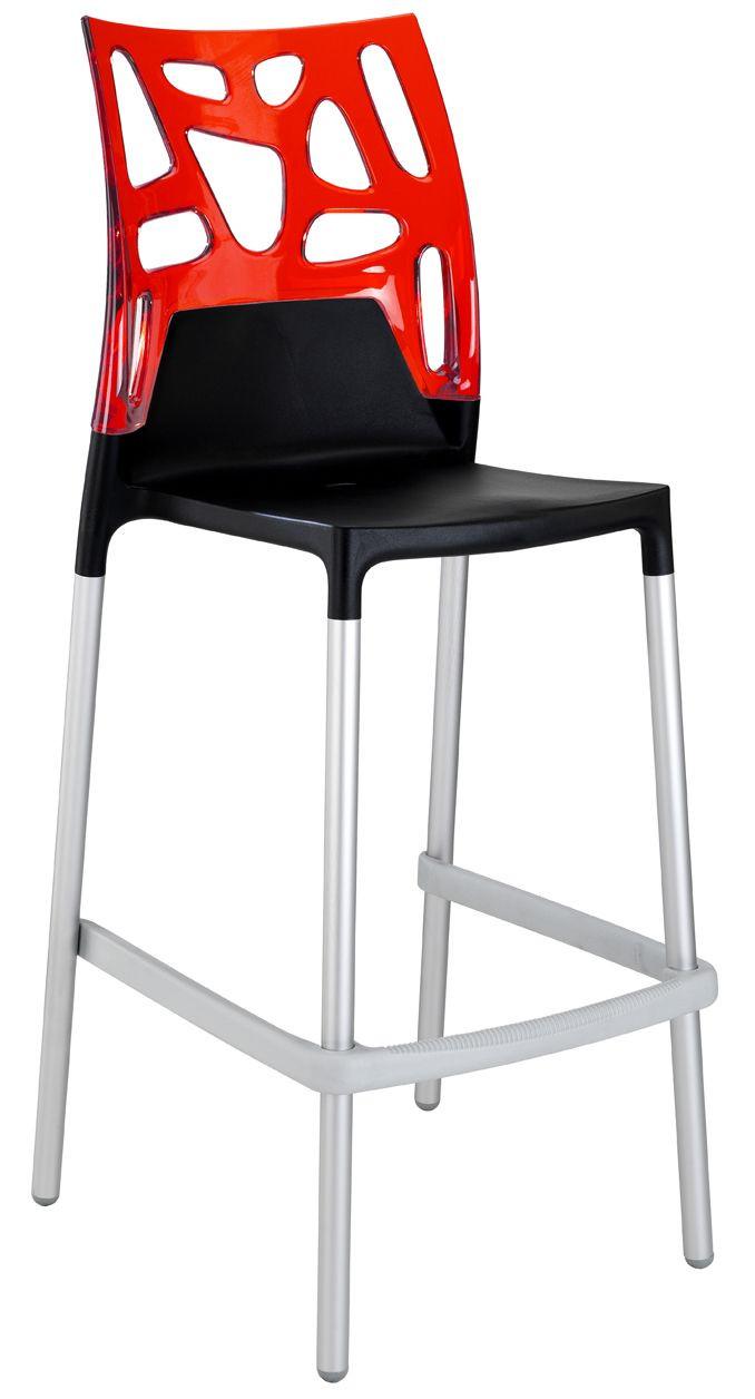 Барный стул Papatya Ego-Rock черное сиденье, верх прозрачно-красный