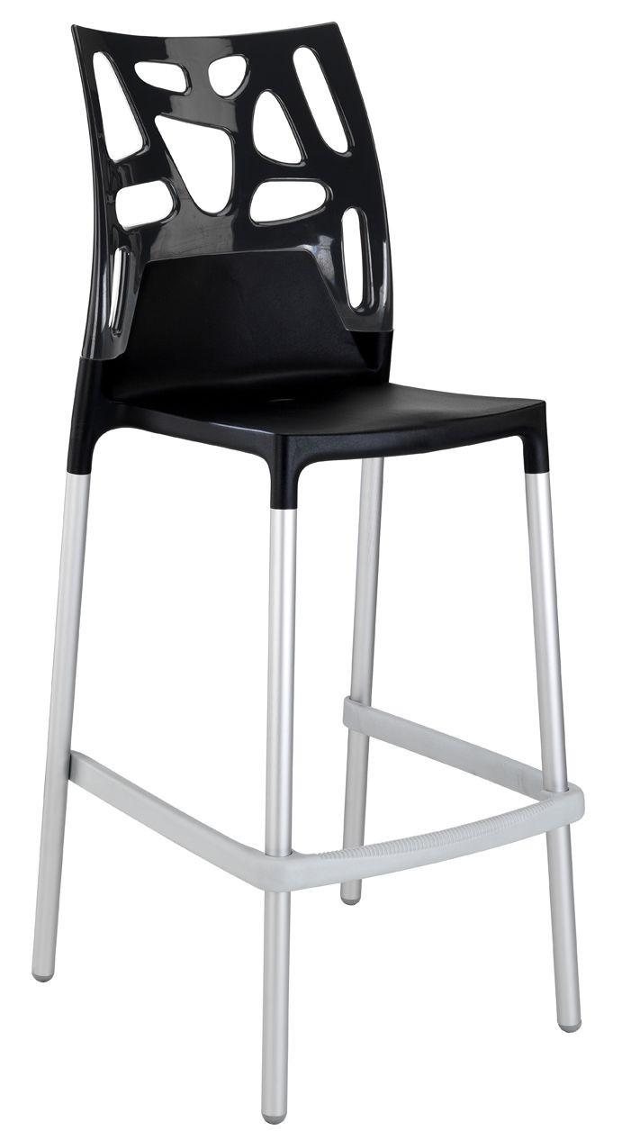 Барный стул Papatya Ego-Rock черное сиденье, верх черный