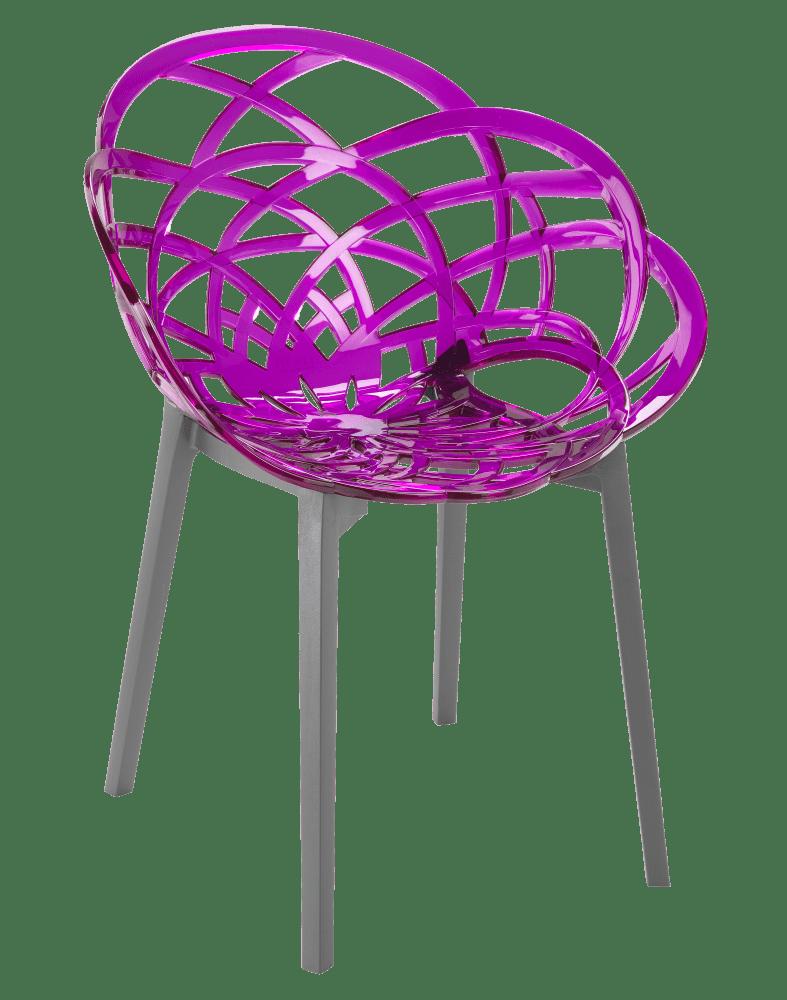 Кресло Papatya Flora прозрачно-пурпурное сиденье, низ антрацит